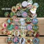 MC696: Owl Glass Cabonchons 25mm, 20 pieces