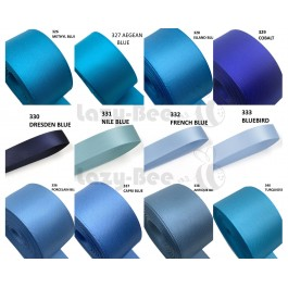BLUE Tone 5 Meter per colour Premium Double Faced Satin Ribbon DIY Craft Wedding Bow Handmade Gift Wrapping Florist Reben