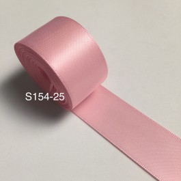 S154-25: ROSE PINK: Double Faced Satin Ribbon 25mm, 5Meter
