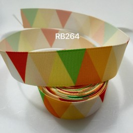 RB264: Yellow Tone Triangle Grosgrain Ribbon 25mm, 5Meter