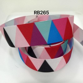 RB265: Red Tone Triangle Grosgrain Ribbon 25mm, 5Meter