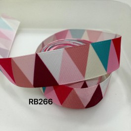 RB266: Pink ToneTriangle Grosgrain Ribbon 25mm, 5Meter