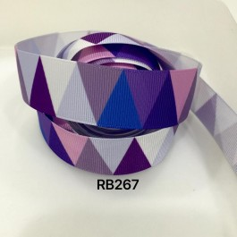 RB267: Purple Tone Triangle Grosgrain Ribbon 25mm, 5Meter
