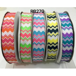 RB270: Mix Cheveron Grosgrain Ribbon 25mm, 5Meter