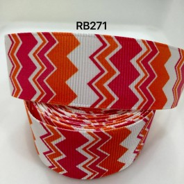 RB271: Red Orange Cheveron Grosgrain Ribbon 25mm, 5Meter