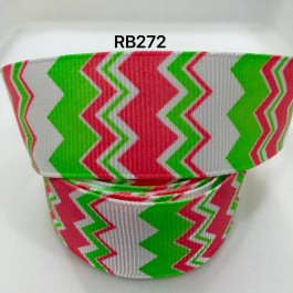 RB272: Red Green Cheveron Grosgrain Ribbon 25mm, 5Meter