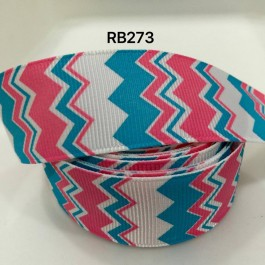 RB273: Pink Blue Cheveron Grosgrain Ribbon 25mm, 5Meter