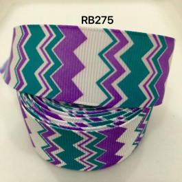 RB275: Purple Green Cheveon Grosgrain Ribbon 25mm, 5Meter