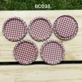 BC038: Natural Polka dot: Bottle Cap, 10 pieces