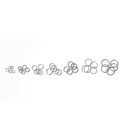 B08914: 1 Box Mixed Silver Tone Open Jump Rings 3mm-8mm, (1500 pieces Assorted)