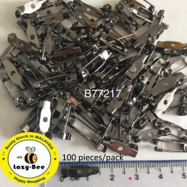 B77217: Gunmetal Iron Brooch Back Bar Pins Safety Pin DIY 15mm, 100 Pieces [ B18 ]