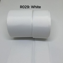 R029-25: WHITE: Grosgrain Ribbon 25mm, 5 meter