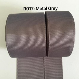 R017-25: METAL GREY: Grosgrain Ribbon 25mm, 5 meter