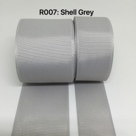 R007-25: SHELL GREY: Grosgrain Ribbon 25mm, 5 meter