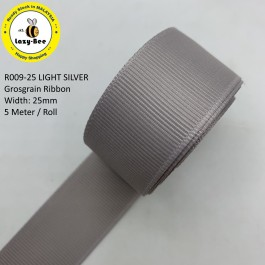 R009-25: LIGHT SILVER: Grosgrain Ribbon 25mm, 5 meter