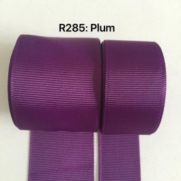 R285-25: PLUM: Grosgrain Ribbon 25mm, 5 meter