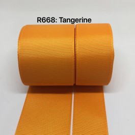 R668-25: TANGERINE: Grosgrain Ribbon 25mm, 5 meter