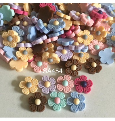SA454: 50 pcs 12mm Five Point Resin Flower cabochons Cute Kawaii DIY baby Brooch Jewelry Making [ C9 ]