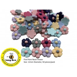 SA454: Five Point Resin Flower 12mm, 50 pieces [ C9 ]