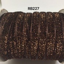 RB227: BROWN Glitter Grosgrain Ribbon 10mm, 5Meter