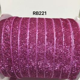 RB221: ROSE BLOOM Glitter Grosgrain Ribbon 10mm, 5Meter