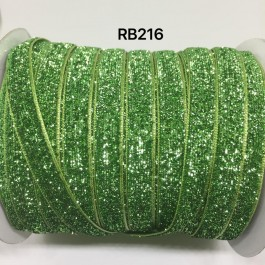 RB216: KIWI Glitter Grosgrain Ribbon 10mm, 5Meter