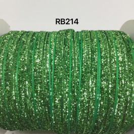 RB214: FERN GREEN Glitter Grosgrain Ribbon 10mm, 5Meter