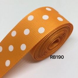 RB190: TANGERINE Polka Dot: Grosgrain Ribbon 25mm, 5meter