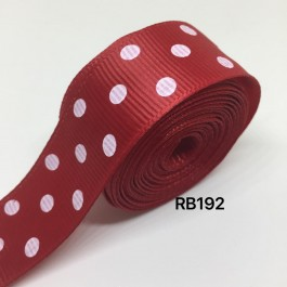 RB192: SCARLET Polka Dot: Grosgrain Ribbon 25mm, 5meter