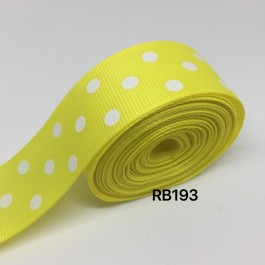 RB193: LEMON Polka Dot: Grosgrain Ribbon 25mm, 5meter