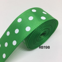 RB198: EMERALD Polka Dot: Grosgrain Ribbon 25mm, 5meter