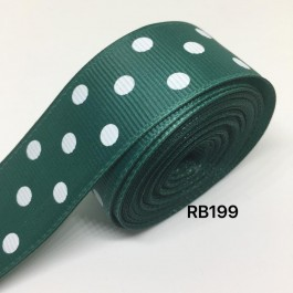 RB199: HUNTER Polka Dot: Grosgrain Ribbon 25mm, 5meter