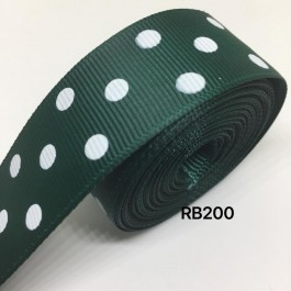 RB200: SPRUCE Polka Dot: Grosgrain Ribbon 25mm, 5meter