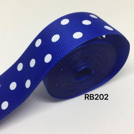 RB202: COBALT Polka Dot: Grosgrain Ribbon 25mm, 5meter
