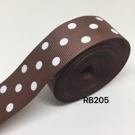RB205: CAPPUCCINO Polka Dot: Grosgrain Ribbon 25mm, 5meter