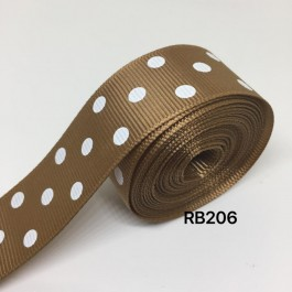 RB206: CHIPMUNK Polka Dot: Grosgrain Ribbon 25mm, 5meter