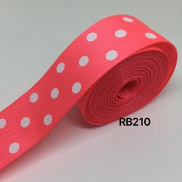 RB210: PASSION FRUIT Polka Dot: Grosgrain Ribbon 25mm, 5meter