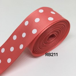 RB211: WATERMELON Polka Dot: Grosgrain Ribbon 25mm, 5meter