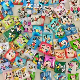 MC683: Mickey Square Shape Glass Cabochons 20mm, 20 pieces