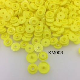 KM003: YELLOW B7: T5 KAM Glossy Snap Button Plastic Fastener DIY, 50 Sets [ K2 ]