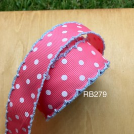 RB279: PINK with WHITE DOT Crochet Ribbon 25mm, 5Meter