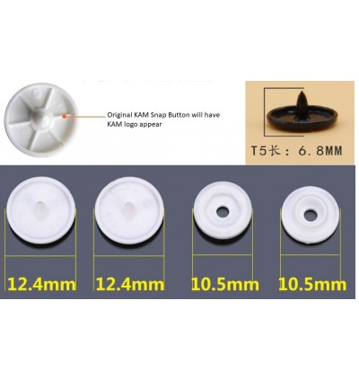 KM011: IVORY B53: T5 KAM Glossy Snap Button Plastic Fastener DIY, 50 Sets