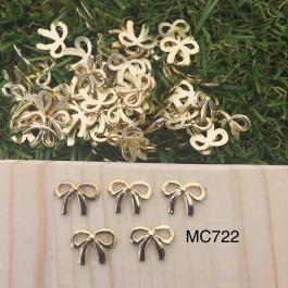 MC722: 20 pieces Mini Bow 10x8mm Exquisite bow-knot charms gold pendants bag accessories craft Jewelry earring bracelet necklace anklet Keychain  [ Z44 ]