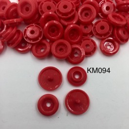 KM094: DEEP RED B38: T5 KAM Glossy Snap Button Plastic Fastener DIY, 50 Sets [ K13 ]