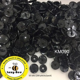 KM090: BLACK B5: T5 KAM Glossy Snap Button Plastic Fastener DIY, 50 Sets