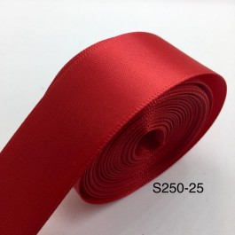 S250-25: Red: Double Faced Satin Ribbon 25mm, 5Meter