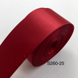 S260-25: Scarlet: Double Faced Satin Ribbon 25mm, 5Meter