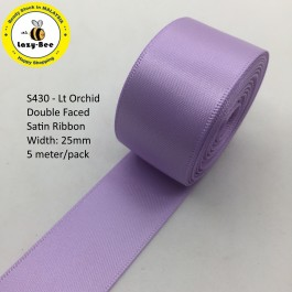S430 LT ORCHID: 5 meter Double Faced Satin Ribbon Wedding DIY Craft Bow knot Perkahwinan Borong Balut Reben