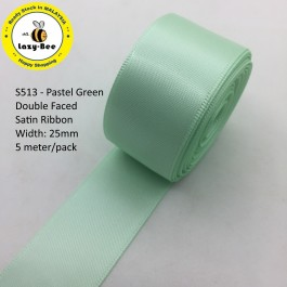 S513-25: Pastel Green: Double Faced Satin Ribbon 25mm, 5Meter