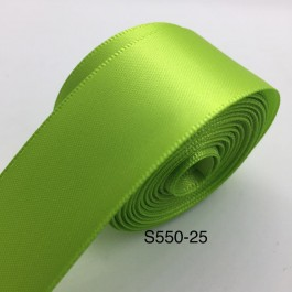 S550-25: Apple Green: Double Faced Satin Ribbon 25mm, 5Meter